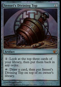 Since this ability is half of a scry 3, it represents 0.75 cards drawn per mana. Arguably the best card ever printed.
