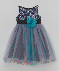 Kids Dream Sparkling Tulle Teal dress_Kids dream Teal overlay tulle party dress