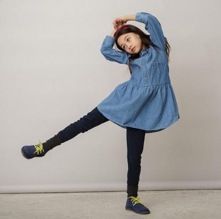 Kallio NYC_Long sleeve drop waist dress_Indigo_vintage clothes for kids_meisjeskleding_duurzaam_eco_goodgirlscompany