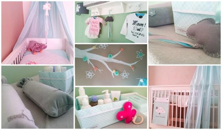 Babykamer-Binnenkijken bij GoodGirlsCompany-Droomwieg labeldoekjes-Roozje-Jollein hameltje-mintgroene babyspullen