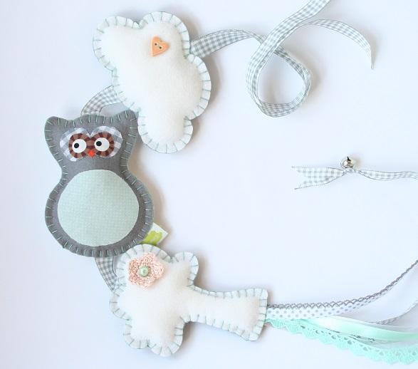 Droomwieg-wieghanger-Dromenvanger in mint-wolk uil boom-spulletjes voor de babykamer