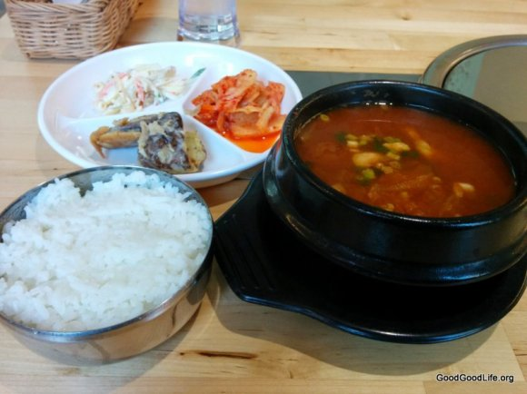 Kimchi Soup with rice and Side Dishes