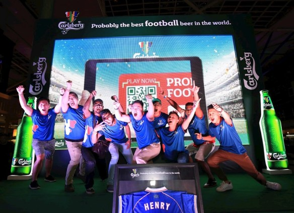 """ootball fans cheered their way to Finale at Carlsberg's """"Probably The Best Football Parties"""" enjoying a football beer experience that was unforgettable among other football fans and beer lovers."""