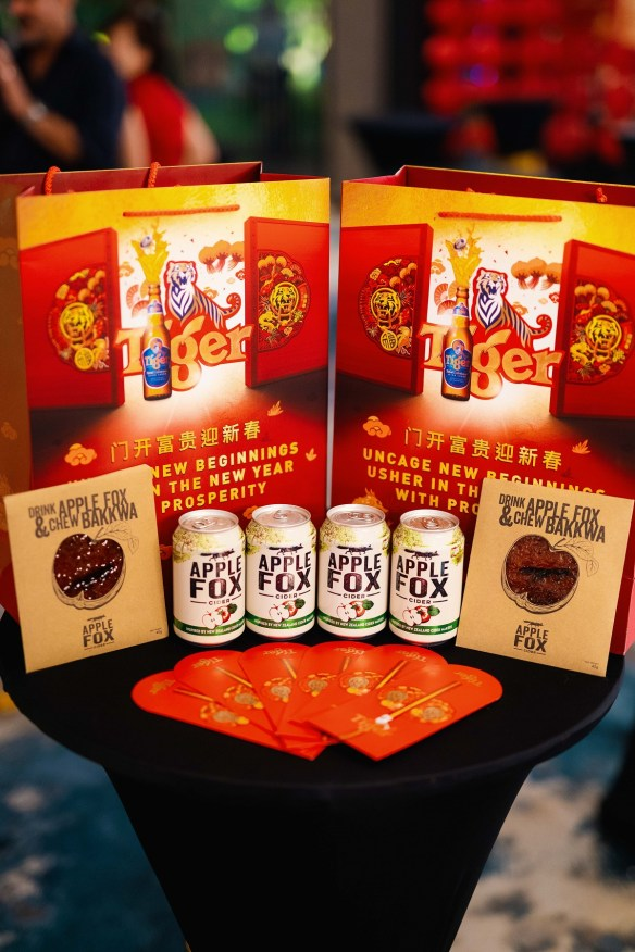 Contents of goodie bags for guests to redeem during the Tiger CNY launch dinner at the Copper Mansion, PJ