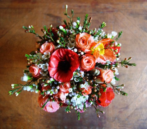 Poppy, rose & ranunculus bouquet