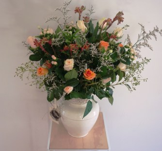 Roses, berries, kangaroo paw, misty & bouvardia arrangement