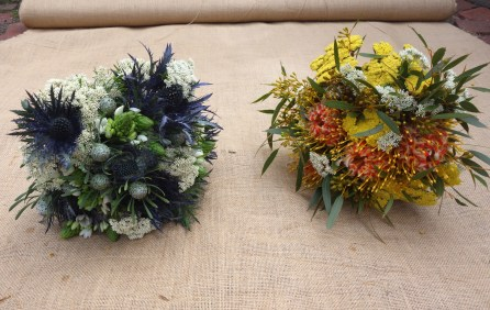 Deep blue jackpot, rice flower & chin chin cherie bouquet & achillea, safari sunset leucadendron & eucalypt bouquet