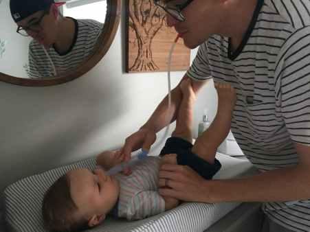 Daddy helping Beau