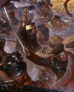 The Battle for Maloyaroslavets, 12/25 October, 1812. Artist: Alexander Averianov. Fragment. In the ranks of the soldiers is the priest Vasili Vasil'kovsky with a cross in his hands.