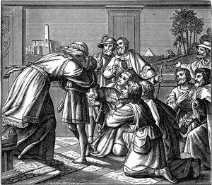 Joseph kissing Benjamin (source; wikipedia commons)