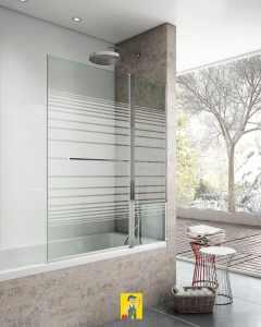 mampara bañera panel liso + abatible modelo brest decorado