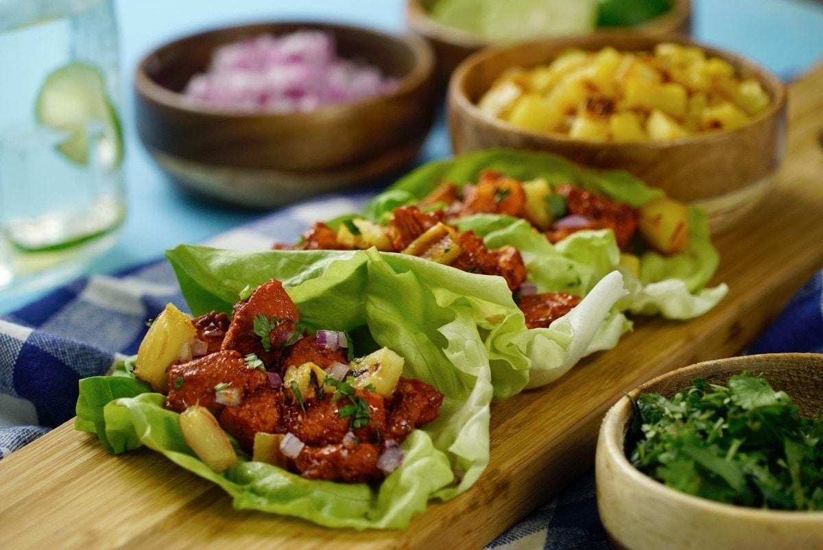 TACOS DE LECHUGA CON POLLO AL PASTOR - ¿Como preparar unos Tacos de Lechuga con Pollo al Pastor?