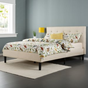 Zinus Upholstered Button-tufted Platform Bed with Wooden Slats