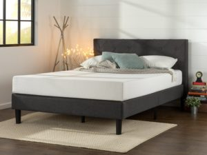 Zinus Upholstered Diamond-stitched Platform Bed with Wooden Slat Support