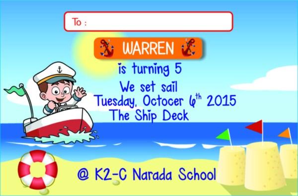 Undangan Ultah Undangan Ulang Tahun Sailor Pelaut Series Nautical