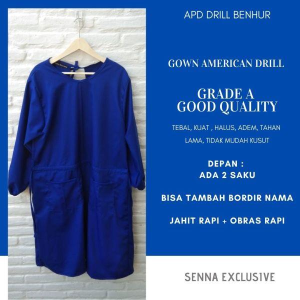 APD Gown Drill Biru Benhur