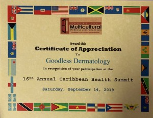 certificate of appreciation to goodless dermatology