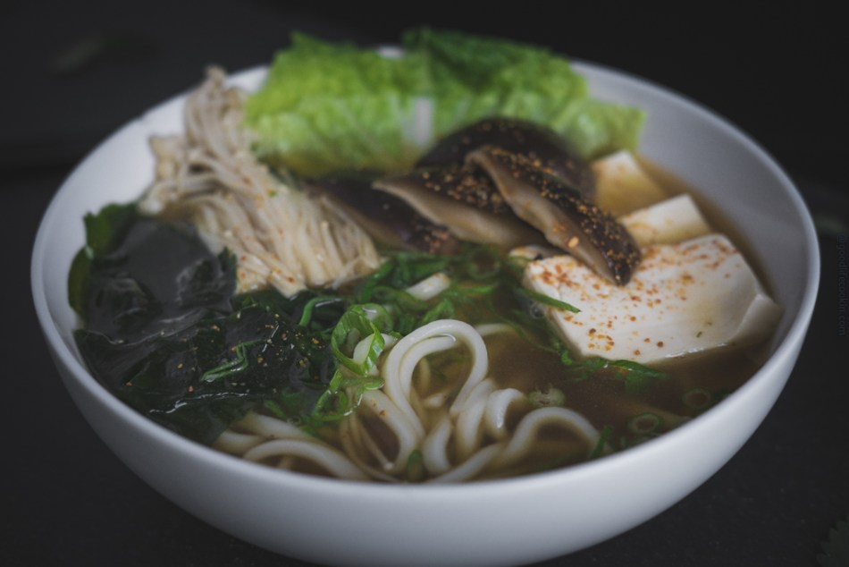 Japanese Udon Noodles in Mushroom Broth