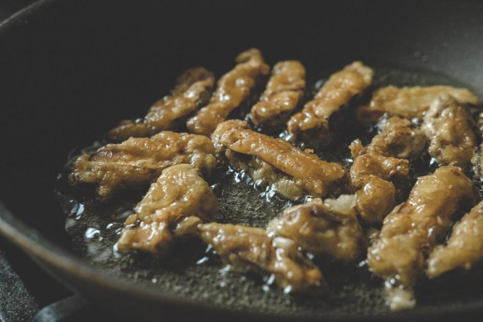 shallow fried shiitake mushrooms