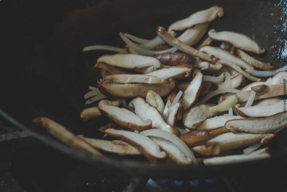 onions and shitake