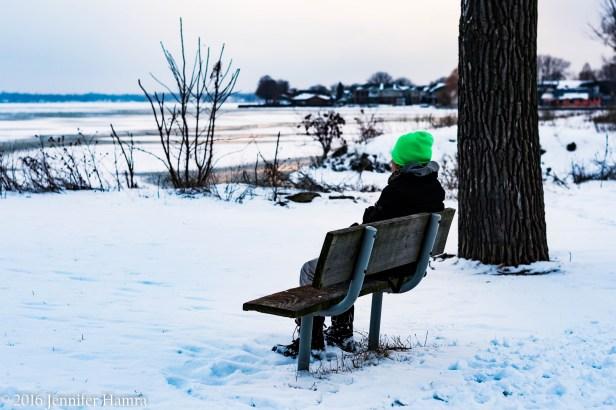 snow at lake