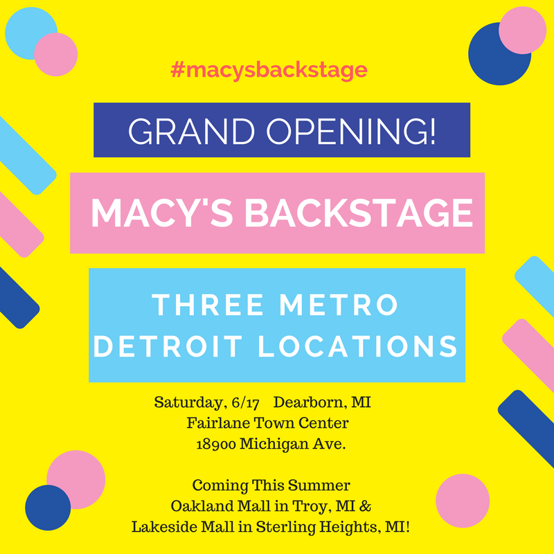 Macy's Backstage Opening Three Metro Detroit Outlet Stores