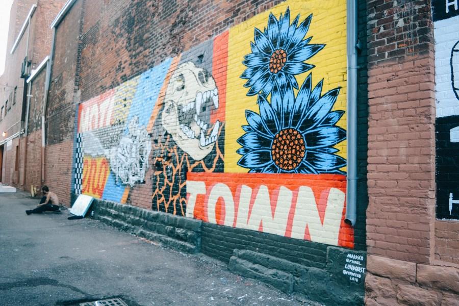 New Detroit murals from the Murals in the Market festival in Detroit, Michigan. Mural art by Benjamin Marasco