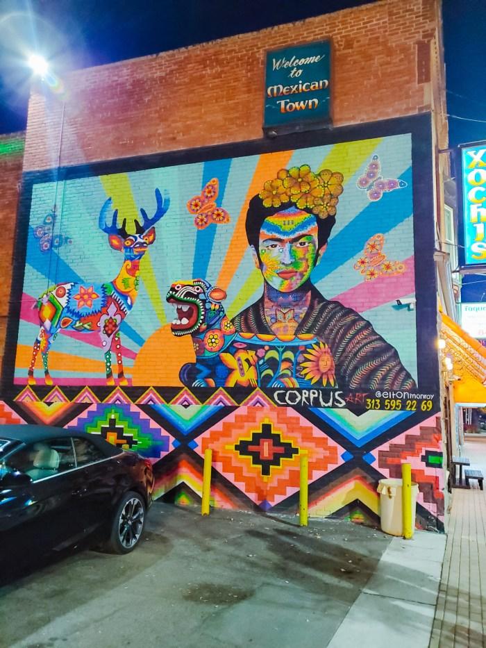 Frida mural art by Detroit artist Elton Monroy
