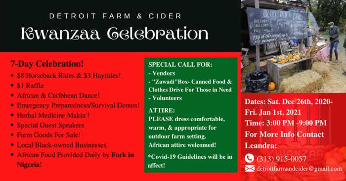 Kwanzaa Celebration at Detroit Farm and Cider