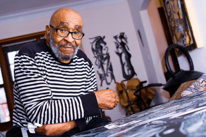 Detroit artist Charles McGee passed away on February 4, 2021. He was 96. Photo of Charles McGee at his home.