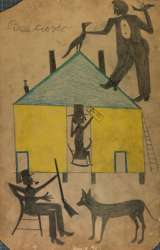 Billy Traylor artwork depiction of a yellow and blue house with figures and dog. Untitled from the collection of the Smithsonian American Art Museum 1994 Bill Traylor Family Trust