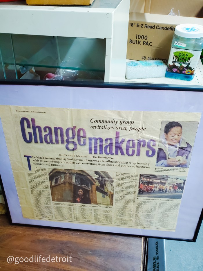 Change Makers article by Tenisha Mercer for The Detroit News featured a piece on Mr. Jay and his Detroit flower shop.