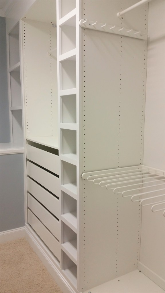 The ultimate Ikea PAX wardrobe hack! I used Ikea PAX to make custom built-ins for my master closet and the results are amazing. The closet is now beautifully organized.