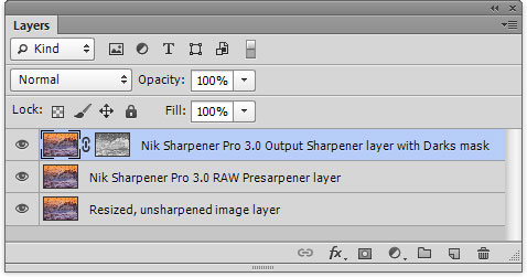 Layer stack from final image sharpening