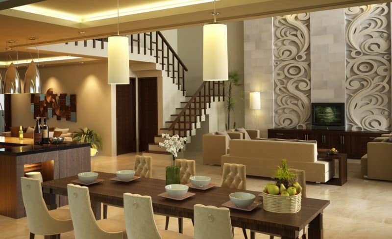 Interior Desain Meja Makan Di Rungan Tengan Rumah Mewah Modern & 10 Interior Rumah Mewah Modern Yang Penuh Seni dan Mengagumkan