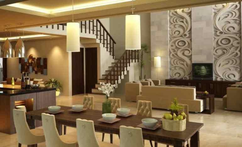 Interior Desain Meja Makan Di Rungan Tengan Rumah Mewah Modern