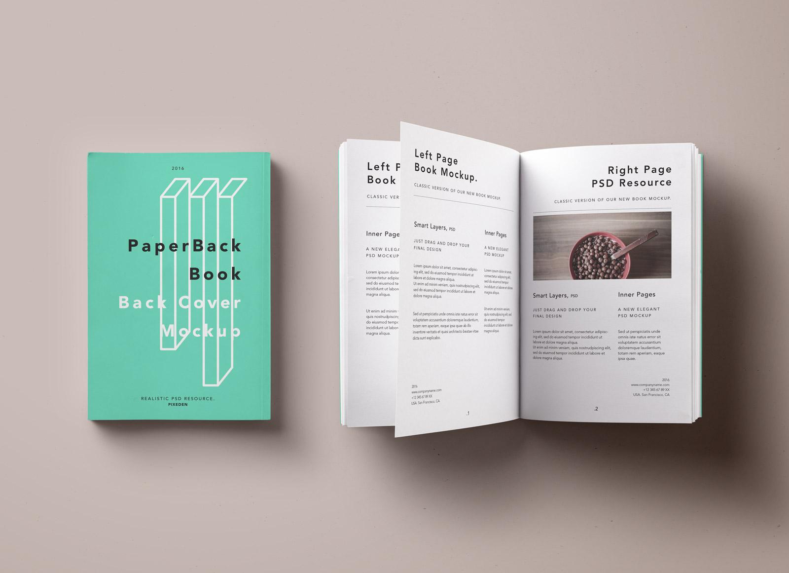 Free Paperback Book Amp Inner Pages Mockup PSD Good Mockups