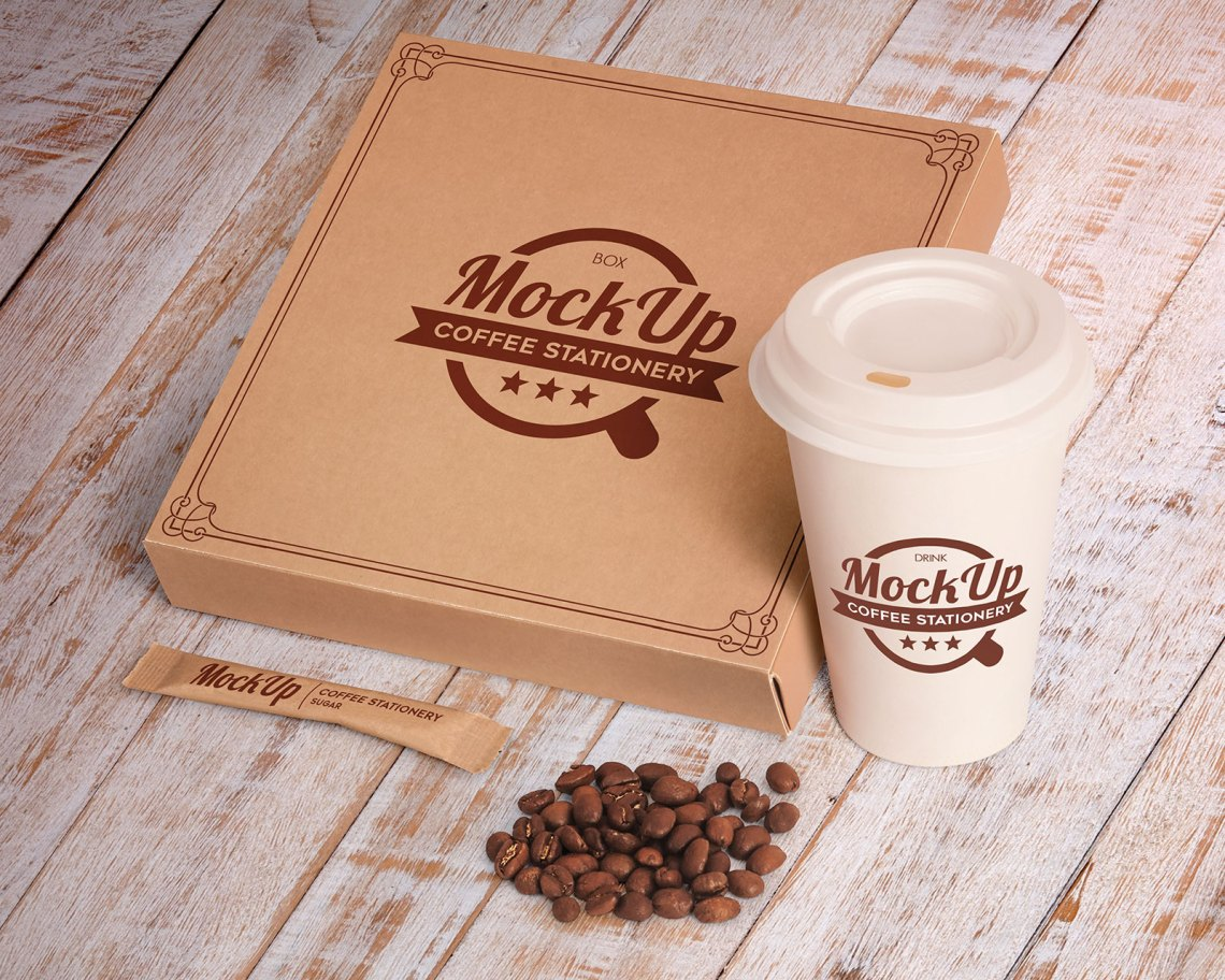 Download Free Pizza Box Packaging, Coffee Cup & Stationery Mockup ...
