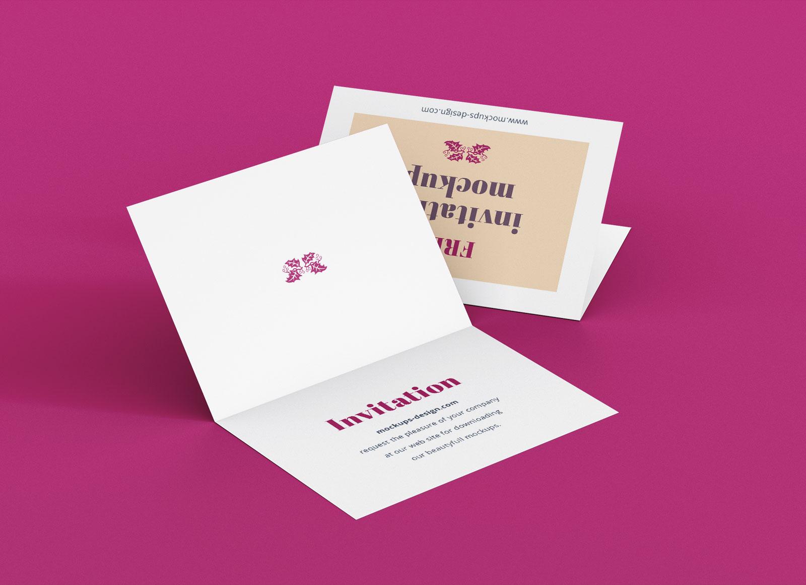 Free A7 Bi Fold Greeting Invitation Card Mockup PSD Set