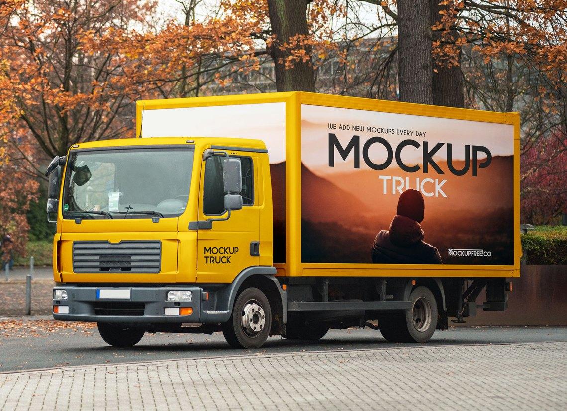 Download Free Box Truck Mockup PSD - Good Mockups