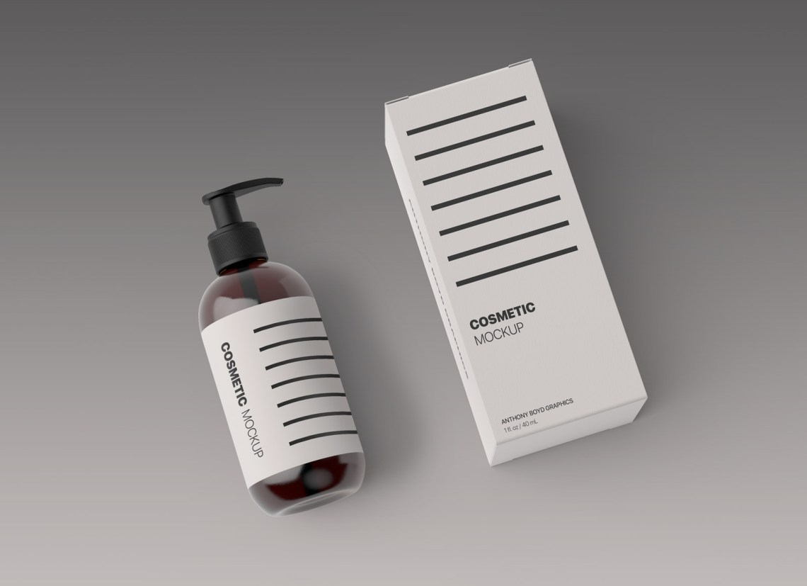 Download Free Cosmetic Spray Bottle & Box Packaging Mockup PSD ...