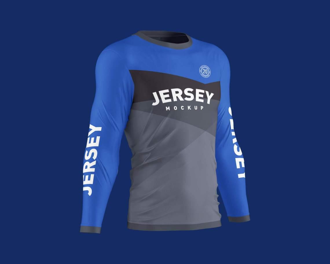 Download Free Men's Long Sleeve 3D Jersey T-Shirt Mockup PSD Set ...