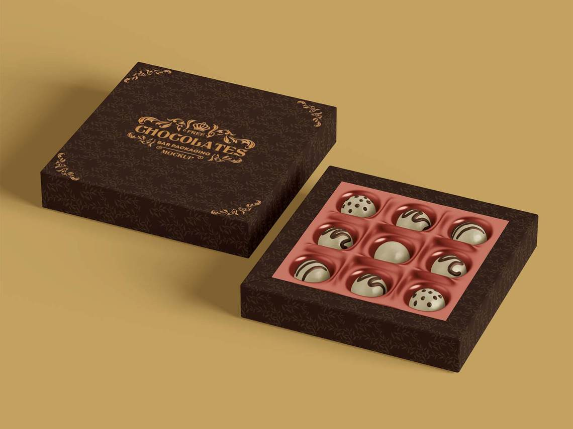 Download Free Truffle Dark Chocolate Gift Box Mockup PSD Set - Good ...