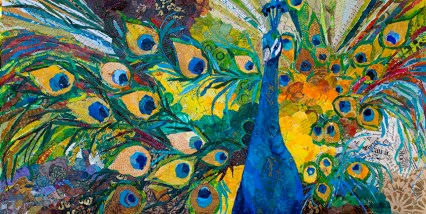 "Elizabeth St. Hilaire, ""Percy Peacock,"" Collaged Paper Painting"