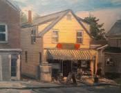 "Stephen LaPierre, Last Stop, oil on canvas, 10"" x 10"" ~ $350"