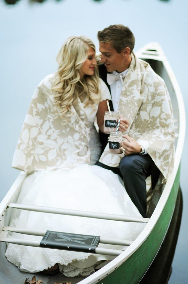 Couple Canoe Wedding