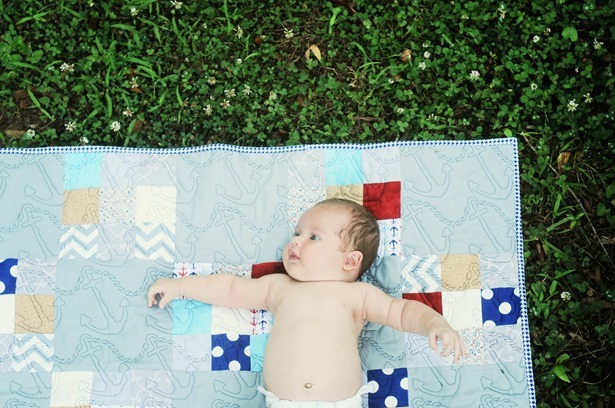 Baby quilt anchor nautical patchwork boy