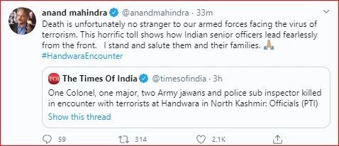 Anand Mahindra Latest tweet on twitter