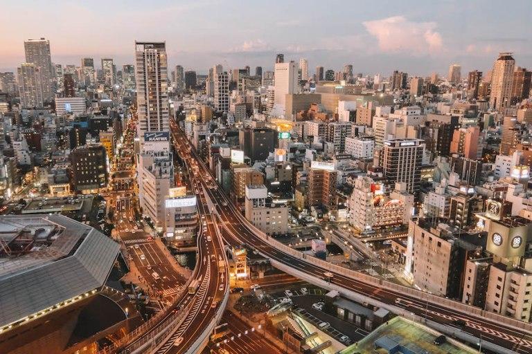 Osaka sightseeing zonsondergang