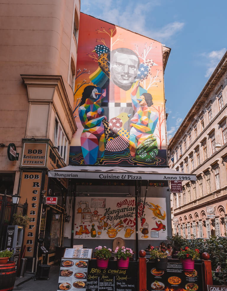Straatkunst Budapest Jewish Quarter Seventh District